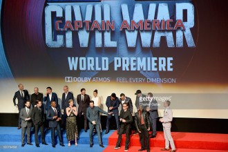 "attends The World Premiere of Marvel's ""Captain America: Civil War"" at Dolby Theatre on April 12, 2016 in Los Angeles, California."